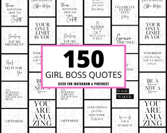 150 Girlboss Instagram Quotes, Editable Canva Quotes, Girl Boss Instagram Posts - Instagram Post Lashes - Hair - Nails - Beauty -Quotes
