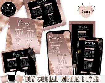 Social Media Flyer, DIY Hair Flyer template, Hair Bundle Flyer, Rose Gold Flyer Template, Editable Instagram Flyer, Price List Template