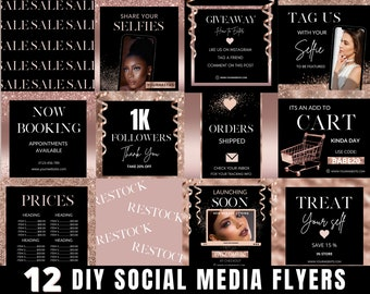 Social Media Flyer, DIY Hair Flyer Template, Rose Gold Flyer, Beauty Flyer Template, Editable Instagram Flyer, Rose Gold Flyer Template