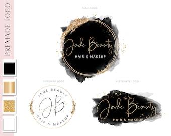 Black Ink and Gold Glitter Logo Design, Logo Design Beauty, Salon Logo, Premade logo