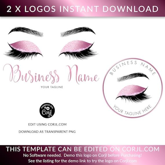LASH LOGO DESIGN, Eyelash logo design, Glittery Lash Logo, Rose Gold  Glitter Eye Logo,