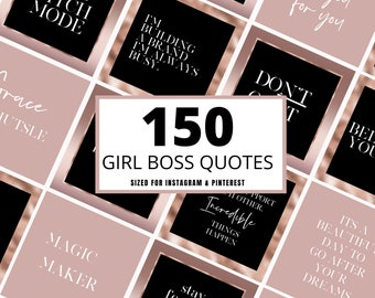 150 Rose Gold Girlboss Instagram Quotes, Editable Canva Quotes, Girl Boss Instagram Posts - Instagram Post Lashes - Hair - Beauty -Quotes