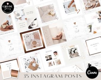 Instagram Post Canva Template | Pretty Instagram posts | Bronze Marble Instagram Posts Template | Social Media Templates