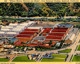 """Burbank, California - """"Where Motion Pictures are Made"""" - First National Studios - in the 1940s -  Vintage Postcard"""