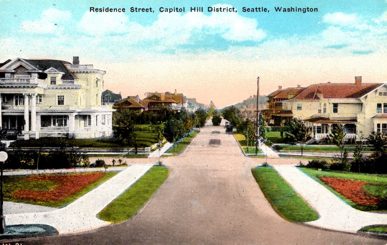 in the 1920s Washington Seattle A view of the houses in the Capitol Hill District Unused Vintage Postcard -