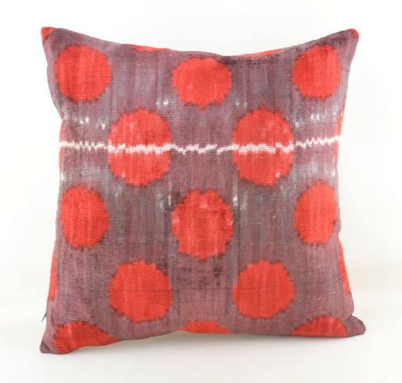 Ikat Velvet Pillow Silk Cousin From Uzbekistan 40X40 INCnc Etsy Cool Cleaning Decorative Pillows