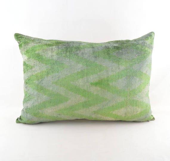 Ikat Velvet Cusion Pillow Silk Cousin From Uzbekistan Etsy Unique Cleaning Decorative Pillows