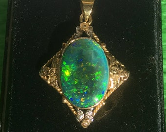Green/Black Opal Pendant Piece-W.M. DRUMMOND & CO. JEWELLERS
