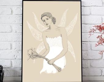 Drawing Fairy. Drawing bride. A3 size. Wedding Gift. Digital illustration.