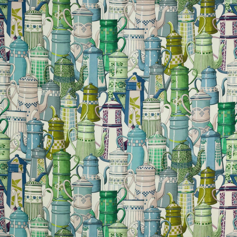 Les collectionneurs de théières café MANUEL CANOVAS coton TOILE TOILE TOILE tissu 5 Yards vert Multi 8e78d2