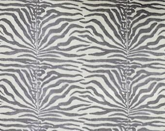 SCALAMANDRE EL MOROCCO Zebra Cut Velvet Silk Fabric 5 Yards Fog