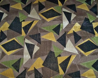 CLARENCE HOUSE Geometric Art Deco Nouveau MURANO Linen Velvet Fabric 4 yards Brown Multi