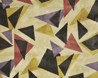 CLARENCE HOUSE Geometric Art DECO Nouveau Murano Linen Velvet Fabric 4 yards Beige Gold Rose Multi