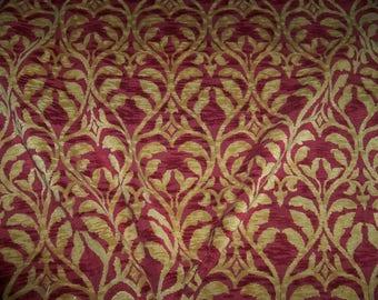 DESIGNER TRELLIS MANOR Fleur De Lis Renaissance Cut Velvet Fabric 10 Yards Gold Burgundy