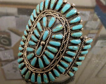 Vintage Sterling Silver Turquoise Bangle Cuff by Navajo Artisan Mae Bia Petit Point