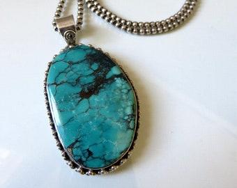 "Vintage Huge Sterling Silver Navajo Silver Turquoise Pendant 22"" length 51 grams"