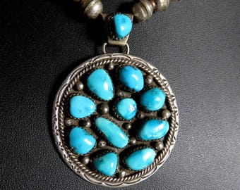 Vintage Sterling Silver Turquoise Pendant Navajo Old Pawn