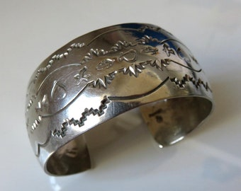 Vintage Sterling Silver Navajo Stamped Cuff Bangle signed by the artisan