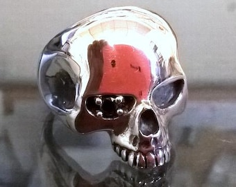 Large Solid Sterling Silver Skull Ring Keith Richards Set With Black Diamond 0.38cts