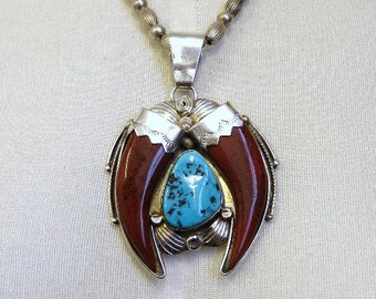 """Vintage Huge Navajo Sterling Silver Turquoise and Agate Claw Pendant by Running Bear Native American Silver Chain 18"""""""