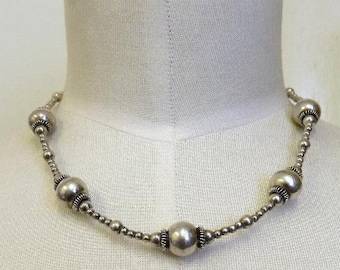 "Vintage Sterling Silver Beaded Necklace 16"" Length 25 grams"