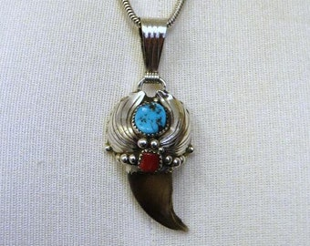 Vintage Sterling Silver Turquoise & Coral Pendant by Navajo artisan Elaine Sam Faux Claw