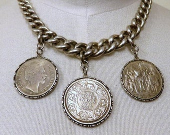 Vintage Victorian Sterling Silver Albert Watch Chain Necklace Choker Very Heavy 137.5 grams Coin Pendants Indian & German