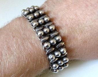 "Vintage Rajasthan Indian Heavy Silver Bead Bracelet 60 grams 7.5"" length"
