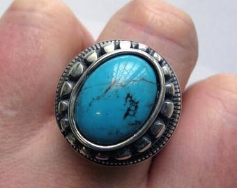 Sterling Silver Heavy Turquoise Navajo Ring Handmade