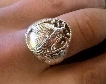 Solid Sterling Silver Eagle Ring Navajo