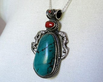 Vintage Huge Sterling Silver Asian Tribal Ethnic Turquoise and Carnelian Makara Serpent Pendant  47.6 grams