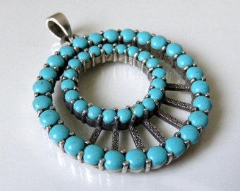 Vintage Sterling Silver Navajo Turquoise Pendant