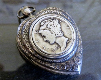 Vintage Silver Heart Shaped Locket Inlaid with Sterling Silver USA Dime Coin 33.5 grams