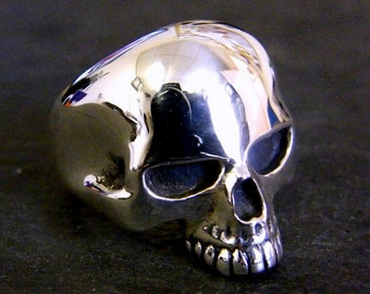 Large Solid Sterling Silver Skull Ring Keith Richards Rock & Roll  Style