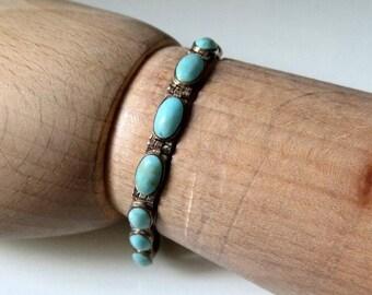 "Vintage Sterling Silver Navajo Style Turquoise Bracelet 8"" length"