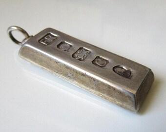 Vintage Sterling Silver Ingot 1 Troy oz Hallmarked Sheffield 1977 Necklace Pendant