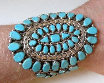 Vintage Sterling Silver Turquoise Bangle Cuff Petit Point by Navajo Artisan Thelma Yazzie