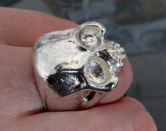 Heavy Sterling Silver Skull Ring Anatomical Half Jaw Keith Richards