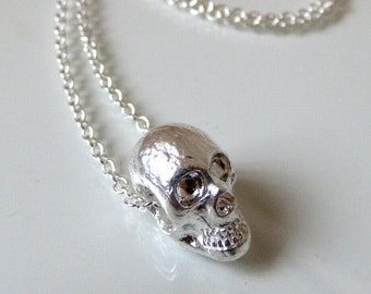 Solid Sterling Silver Skull Pendant Natural and Oxidized