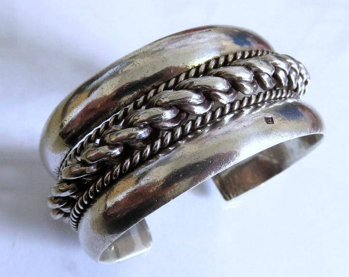 Featured listing image: Vintage Egyptian Bedouin Tribal Sterling Silver Bangle Cuff Massive 155 grams