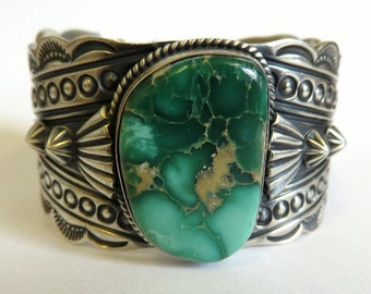 Vintage Sterling Silver Navajo Royston Turquoise Bangle Cuff Heavily Detailed By Artisan Derrick Gordon - 90.5 Grams