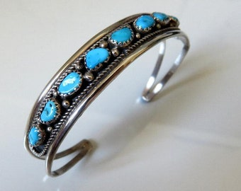Vintage Sterling Silver Navajo Turquoise Bangle Cuff signed by the artisan Elton Cadman