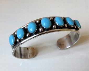 Vintage Sterling Silver Navajo Turquoise Bangle Cuff Tribal