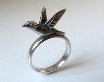 Solid Sterling Silver Folklore Bird Ring