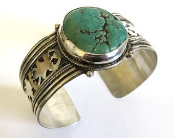 Vintage Tribal Sterling Silver Ethnic Cuff Bangle Set With Large Turquoise 65.5 grams
