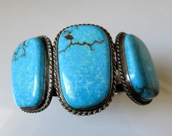 Vintage Large Old Pawn Navajo Sterling Silver Turquoise Bangle Cuff signed by the artisan FS 79.2 grams
