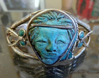 Handmade One Off Sterling Silver & Carved Turquoise Native American Face Bangle Cuff Navajo Inspired Design