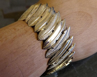 "Vintage Sterling Silver Navajo Style Feather Bracelet 67 grams 8"" Length"