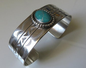 Vintage Sterling Silver Turquoise Cuff Bangle Native American Navajo