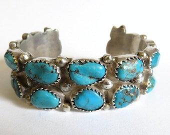 Vintage Old Pawn Sterling Silver Navajo Turquoise Cuff Bangle Heavy 106.5 grams